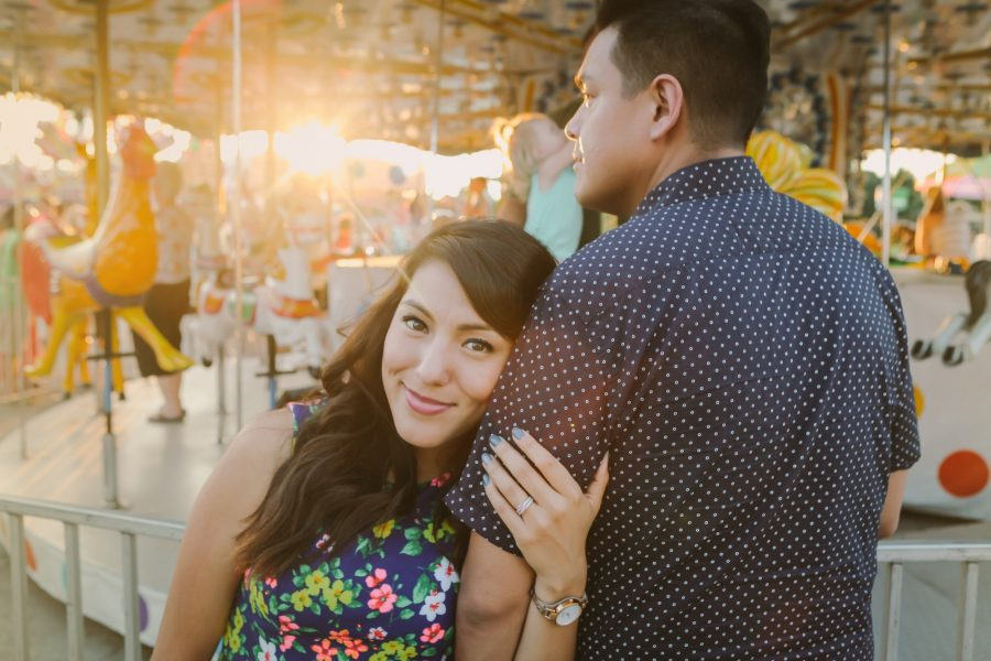 Tim and Stephanie Cruz at the Fair during golden hour/sunset