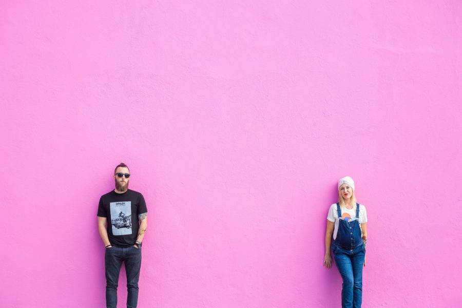 Chris and Summer Shealy worship leaders and pastors at the Paul Smith pink wall in LA/Los Angeles