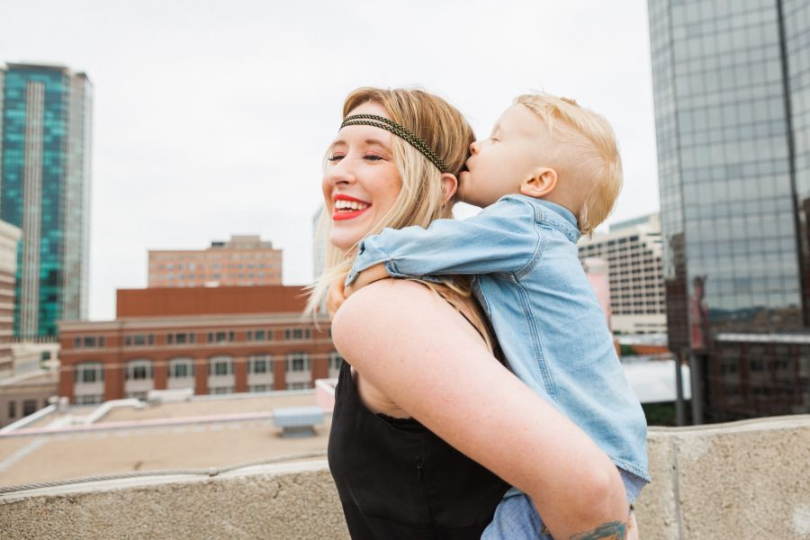 Shealy Family photo mother and son mom and son downtown fort worth texas rooftop location